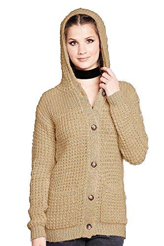 Maglione Camel torsione Marca Nuovo Button Cappuccio Attraverso Bianco Donna Brave Soul Cardigan Di Dryer x77vFqP