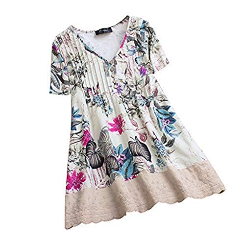 POHOK Women Plus Size Tops Womens Casual Vintage Printed Floral Color Casual O-Neck Shirts Lace Splicing Blouse Top(XL,Z-White) (Moving Pic O)
