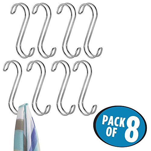 mDesign Over the Rod, Closet Accessory Hook Organizer for Ties, Belts, Handbags - Pack of 8, Chrome