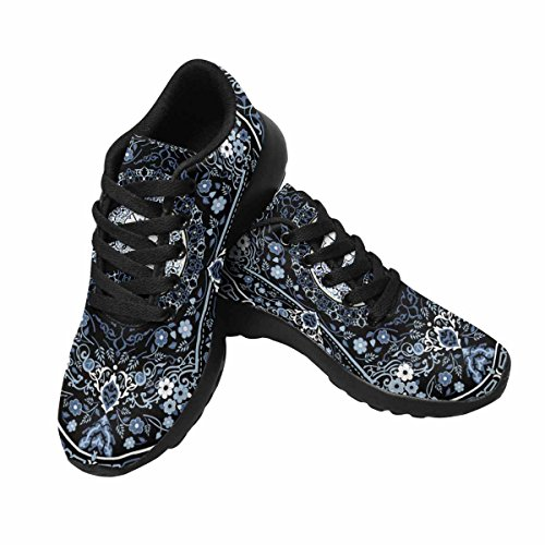 Interestprint Mujeres Trail Running Zapatos Jogging Ligero Deportes Walking Athletic Sneakers Alfombra Frontera Frame Pattern Multi 1