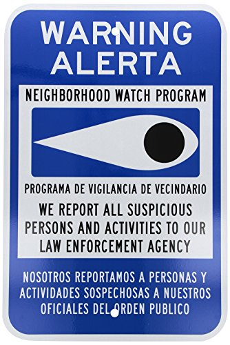 "SmartSign 3M Engineer Grade Reflective Sign, Legend ""Warning - Neighborhood Watch Program"", Bilingual Sign with Graphic, 18"" high x 12"" wide, Black/Blue on White"