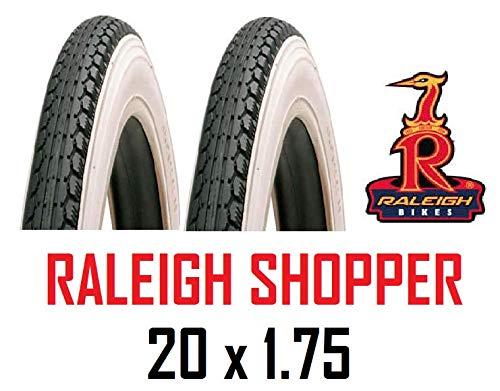 Roaduserdirect Cycle Packs 2 x RALEIGH 20x1.75 White Wall Shopper Bike Tyres