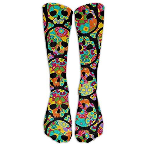 Day of The Dead Flowered Skull Knee High Graduated Compression Socks for Women and Men - Best Medical, Nursing, Travel & Flight Socks - Running & Fitness -
