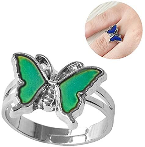 Inspiration Mood Ring Butterfly Color Change Adjust Size Decorations Finger Ring (Mood Rings Size)