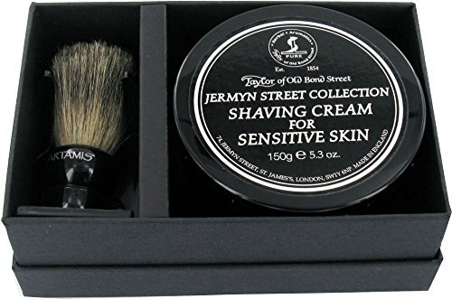 18 Mm Cream (Taylors of Old Bond Street Jermyn Street Shaving Cream 60ml and Artamis 18mm Knot Mixed Badger Brush Gift Set by Sarome)