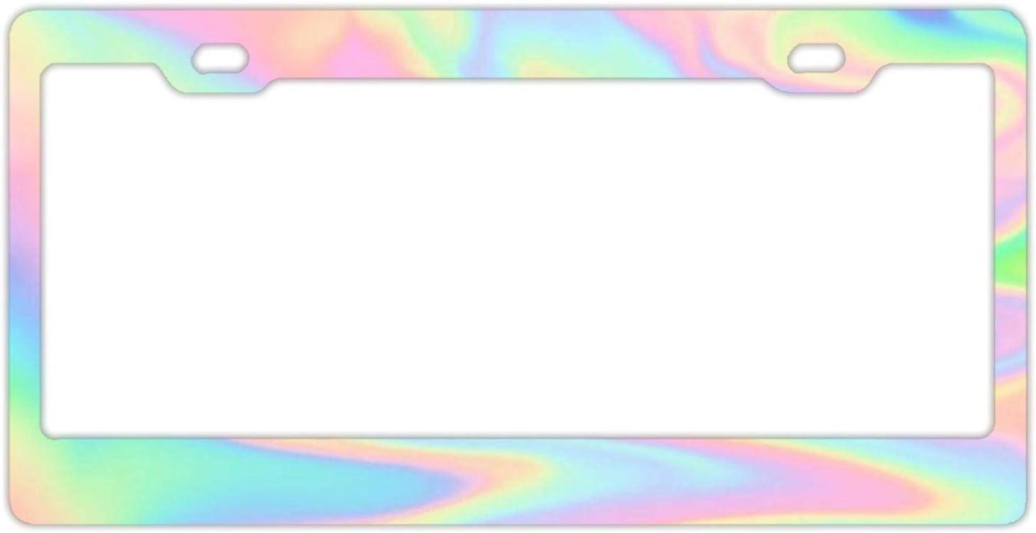 Custom Holographic Car License Plate Cover Holder for US Vehicles Hopess Auto Decorative Frames Black Aluminum Metal License Plate Frame for Women//Men