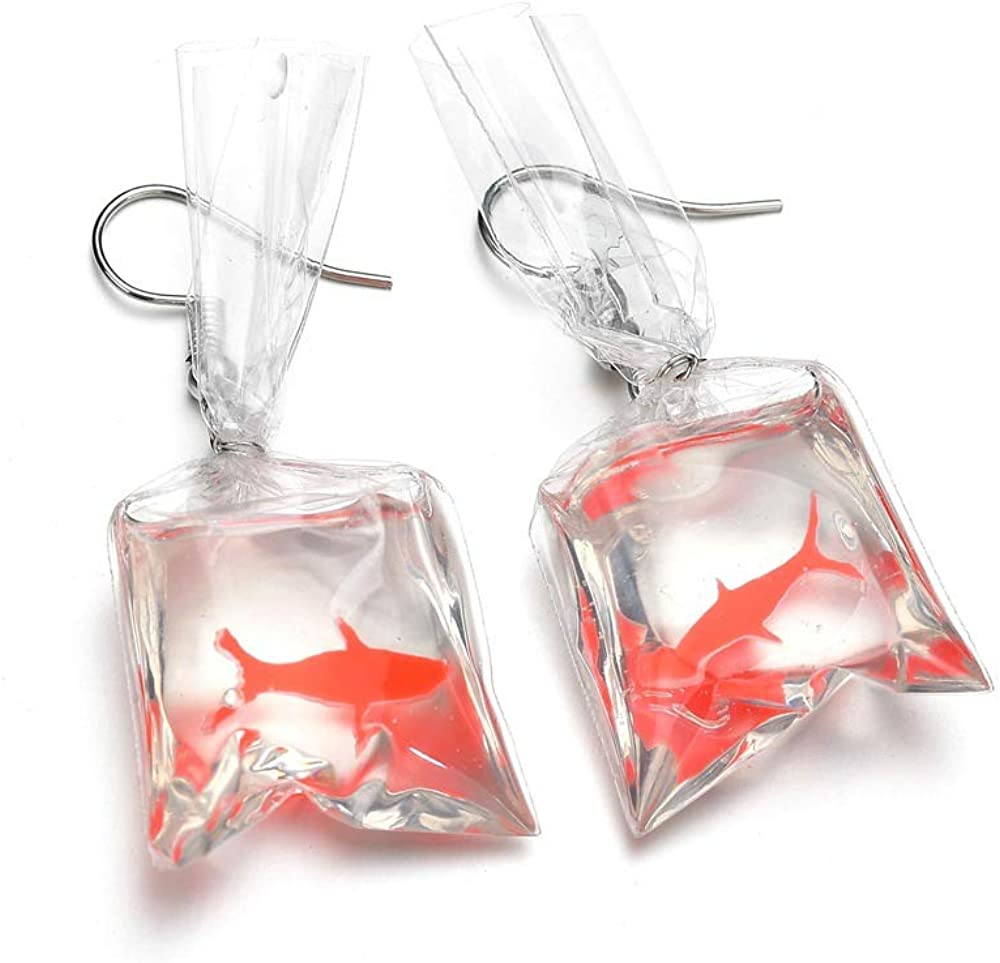 Handmade Fish Earrings Water Bag Dangle Hook Pendant Earrings Cute Jewelry In UK