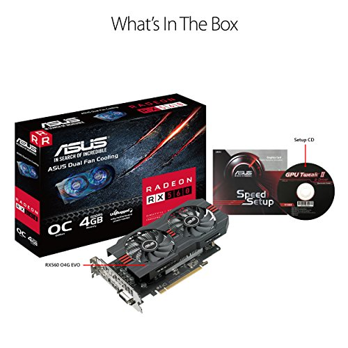 ASUS Radeon RX 560 14CU 4GB EVO OC Edition  GDDR5 DP HDMI DVI AMD Graphics Card (RX560-O4G-EVO) by Asus (Image #5)