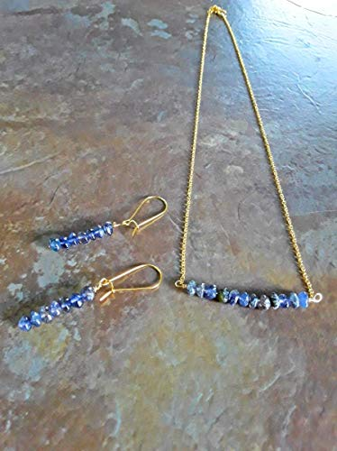 Water Sapphire Iolite Classic Bar Pendant Necklace and Earrings Gift Set 18k Gold Plt Multiple Size Options