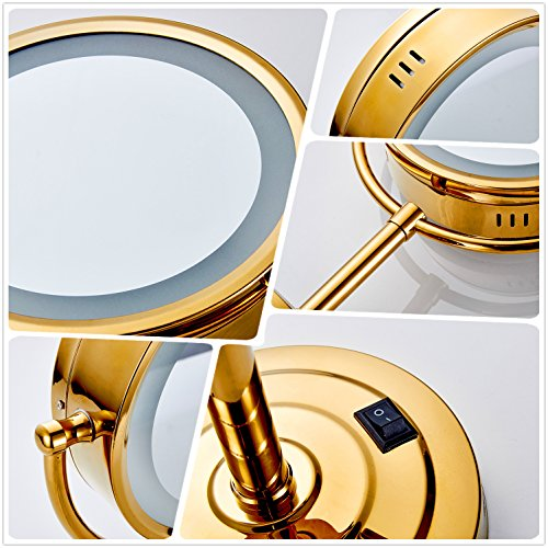 Cavoli 8.5 inch LED Makeup Mirror with 7x Magnification,Extendable Bathroom Mirror,Tabletop Two-sided,Gold Finish(8.5in,7x) by Cavoli (Image #8)