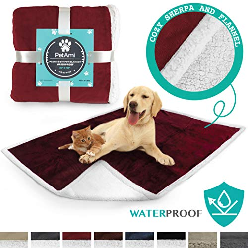 PetAmi Premium Waterproof Soft Sherpa Pet Blanket by Cozy, Comfortable, Plush, Lightweight Microfiber, 100% WATERPROOF (50 x 40, Wine)
