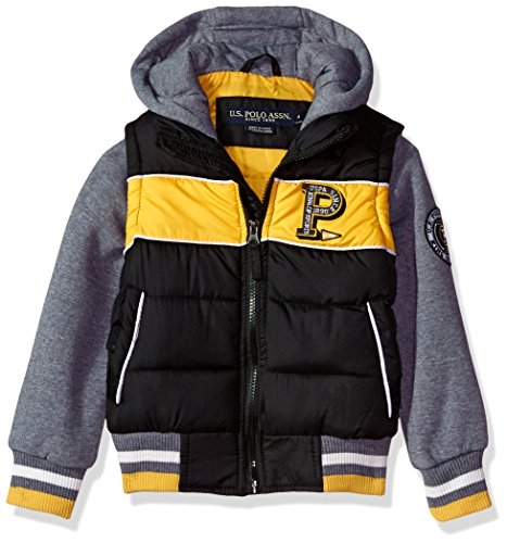 US Polo Association Big Boys' Fashion Outerwear Jacket, UB43-Vest-Black, 14/16