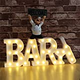 Vimlits BAR Letter Alphabet Light Sign, Carnival Wedding Illuminated Marquee Bar Sign, Lighted Plastic Large Letter Pub BAR Mood Sign, Battery and USB Cable Operated-White