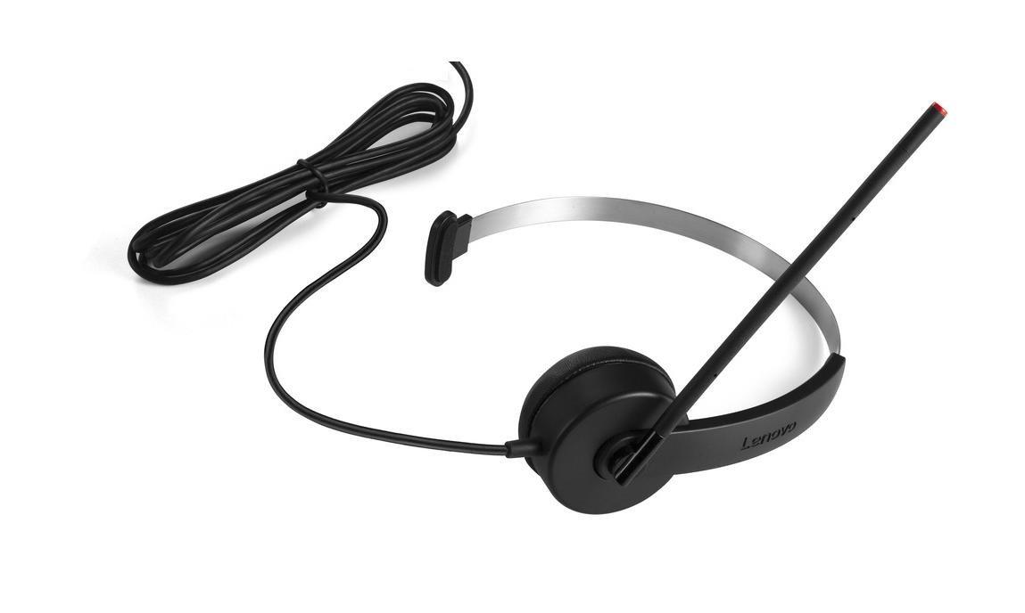 Lenovo 4XD0K25029 Monoaural Diadema Negro Auricular con micrófono - Auriculares con micrófono (Centro de Llamadas/Oficina, -5-40 °C, Monoaural, Diadema, ...