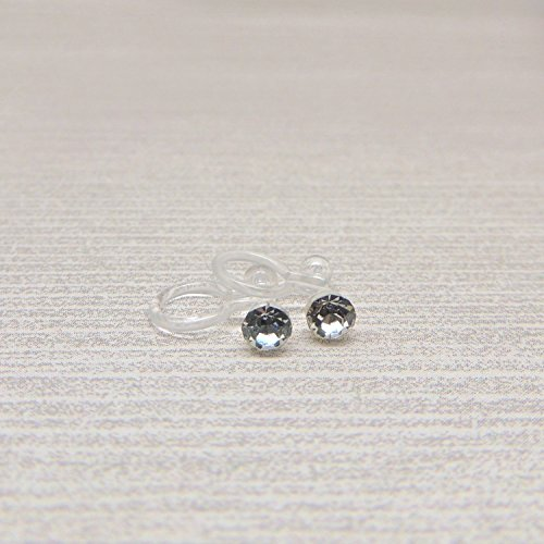 Metal Clip Earrings (4mm Clear Glass Rhinestone Invisible Clip On Earrings for Non-Pierced Ears)