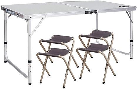 YUWEN Mesa de Picnic Ajustable, Mesa de Camping Plegable con 4 sillas, Aluminio: Amazon.es: Deportes y aire libre