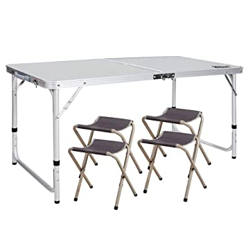 YUWEN Mesa de Picnic Ajustable, Mesa de Camping Plegable con 4 ...