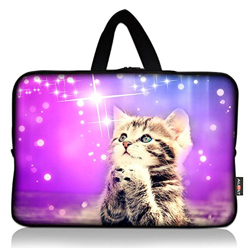 AUPET Cute Wish Cat Universal 7 ~ 8 inch Tablet Portable Neoprene Zipper Carrying Sleeve Case Bag