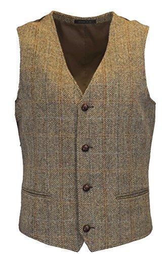 Walker & Hawkes - Mens Classic Scottish Harris Tweed Herringbone Overcheck Country Waistcoat Vest - White Sand - 42 ()