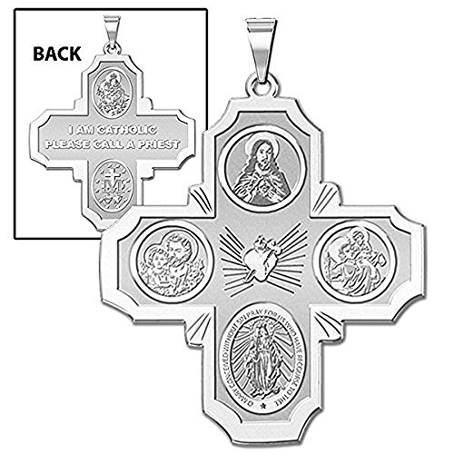 Four Way Religious Medal - 3/4 Inch X 3/4 Inch - Sterling Silver