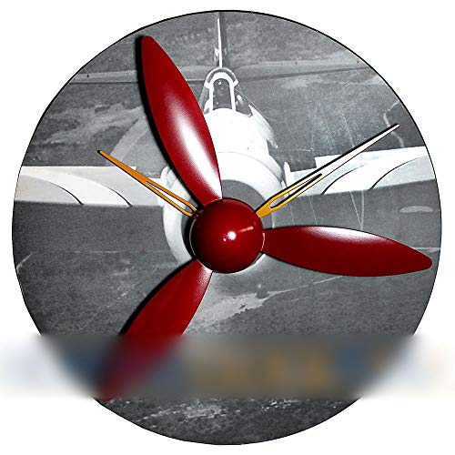 KRPENRIO Aircraft Model Gear Clock, Wood Wall Clock Propeller Wing Wing Clock Personality Creative Gifts (Color : 2) ()
