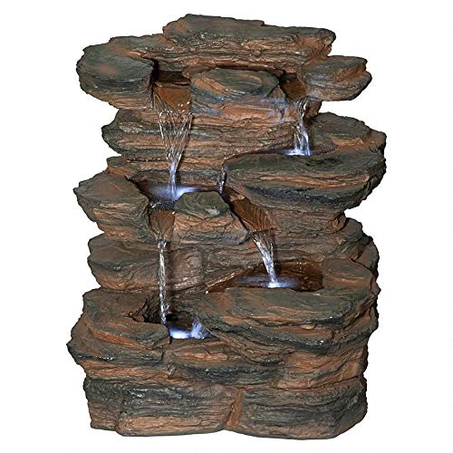 Design Toscano Ramrod Bluffs Cascading Waterfall Illuminated Tabletop Fountain
