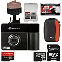 Transcend DrivePro 520 1080p HD GPS Wi-Fi Car Dashboard Video Recorder with Adhesive Mount with (2) 32GB Cards + Case + Kit