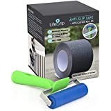 Best Value! Anti Slip Traction Tape + Installation Roller - 4 Inch x 30 Foot - Best Grip, Friction, Abrasive Adhesive for Stairs, Tread Step, Indoor, Outdoor, Black (Tape + Roller)
