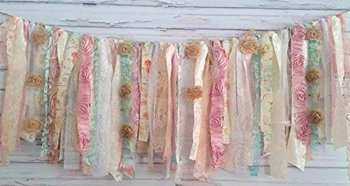 Grandma's Garden Shabby Chic Rag Tie Garland : ~ Photo Shoot ~ Vintage ~ Wedding Decor ~ Nursery ~ Bridal Shower ~ Gender Reveal ~ Decorations ~ Photo Props ~ Banner ~ Wall Decor! (3 FEET WIDE) (Quilt Party Garden)