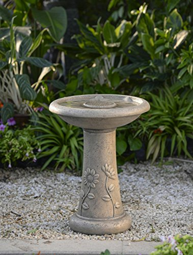 "19.5"" Light Brown Floral Motif Faux Stone Outdoor Patio Garden Birdbath Fountain by CC Outdoor Living"