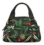 Gentle Meow Women Waterproof Zipper Tote Bag Handbag Messenger Bag, Army green, Flower