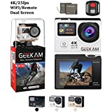 4K Video Camera,Wifi Remote Control Ultra HD 4K/25FPS 12MP Dual Screen Action Sport Cam 170°Wide Angle Come With 98FT Waterproof Case,2PCS Batteries and 19 Accessories Kit