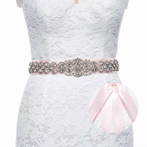 Sisjuly Pearl Rhinestones Sash Beaded Belts for Wedding Party Ball Prom Evening Dress Pink