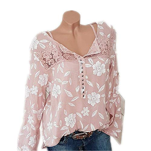 (Sunmoot Clearance Sale Plus Size T-Shirt for Women Lace Patchwork Tops Print Casual Blouse Tunic)