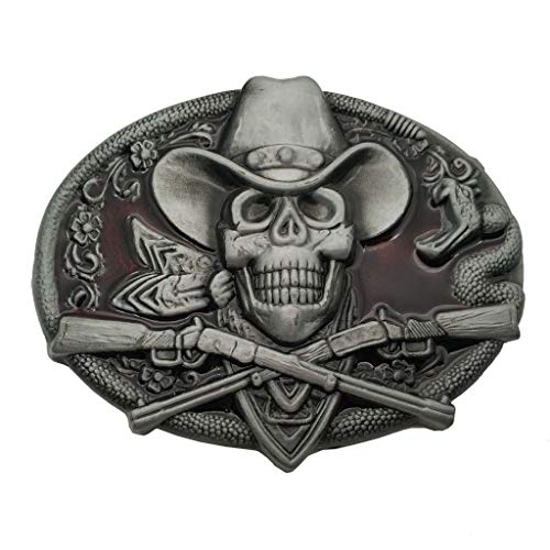 (Western Cowboy Skull Pirate Rifles Belt Buckle Red)