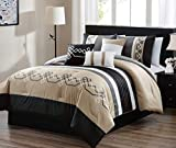 Oversized King Bed in a Bag JBFF 7 Piece Oversized Luxury Embroidery Bed in Bag Microfiber Comforter Set Black Tan (King)