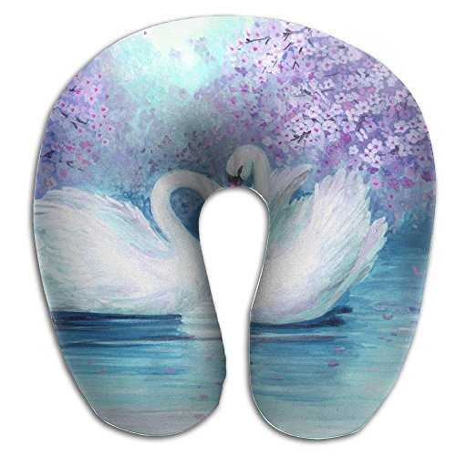 (BRECKSUCH Watercolor Couple Swans Landscape Print U Type Pillow Memory Foam Neck Pillow For Travel And Relief Neck Pain Comfortable Super Soft Cervical Pillows With Resilient Material Relex)