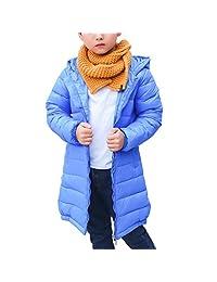 Boy Girl Winter Warm Cotton Hooded Long Down Jacket Kid Windproof Snowsuit Outwear