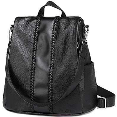 VASCHY Backpack Purse for Women, Fashion Faux Leather Convertible Anti-Theft Backpack for Ladies with Vintage Weave Black