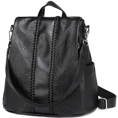 - Backpack Purse for Women,VASCHY Fashion Faux Leather Convertible Anti-theft Backpack for Ladies with Vintage Weave Black