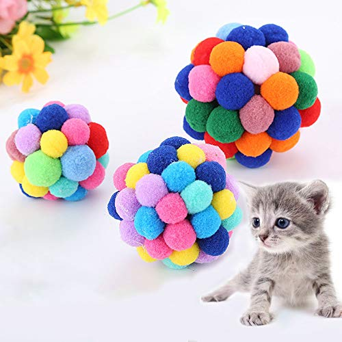 LtrottedJ Pet Cat Toy Colorful Handmade Bells Bouncy Ball Built-in Catnip Interactive -