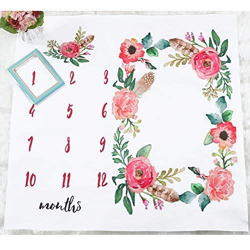 Starte Flower Baby Monthly Milestone Blanket Photo Props Newborn Photo Blanket Kids Swaddling Wrap Baby Shower Gift