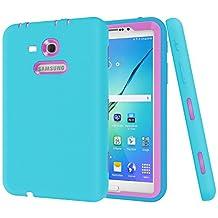 "Galaxy Tab 3 Lite 7.0 Case,Galaxy Tab E Lite 7.0 Case,MAKEIT Shock-Absorption / High Impact Resistant Hybrid Dual Layer Armor Defender Full Body Protective Case Cover for Samsung Galaxy Tab 3 Lite 7.0"" and Tab E Lite 7.0""-Blue/Rose Red"