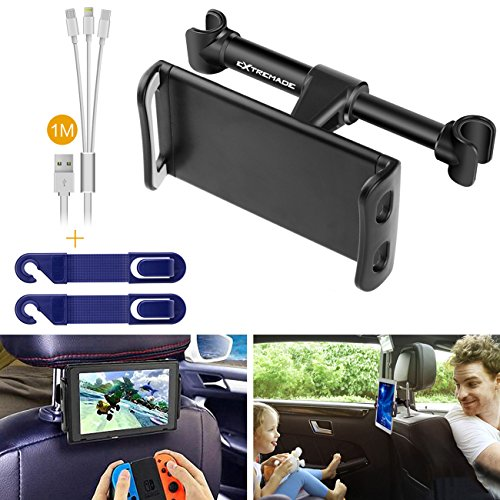 Price comparison product image Smartphone iPhone iPad Tablet Car Headrest Mount Holder Cradle Rear Back Seat Mount w/ 3in1 Charging Cable + Headrest Hanger for iPad Samsung Galaxy Tabs Nintendo Switch Cell phone Car Mount