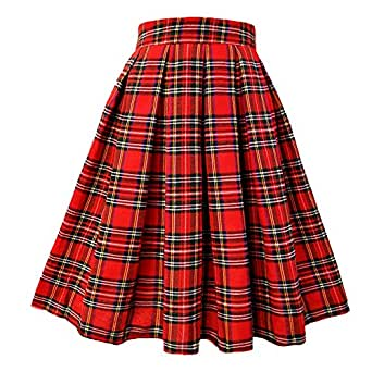 T-Crossworld Women's High Waist A Line Midi Plaid School Girl Plaid Uniform Skirt with Pockets Plaid XSmall