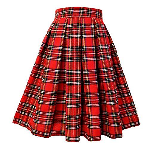 (T-Crossworld Women's High Waist A Line Midi Plaid School Girl Plaid Uniform Skirt with Pockets Plaid XSmall)