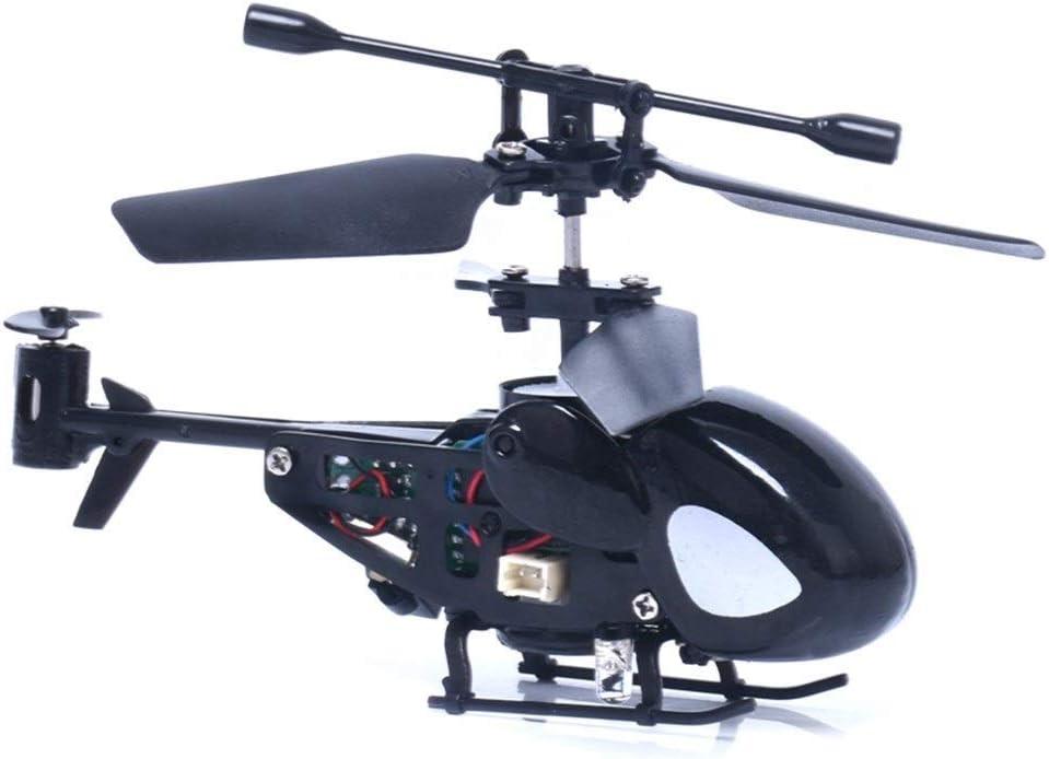 KRCT Micro Mini helicóptero teledirigido de Juguete Recargable 2.4G 3.5 Canal anticaída helicóptero eléctrico Modelo Ilustración Aviones de RC for los niños (Color : Black)