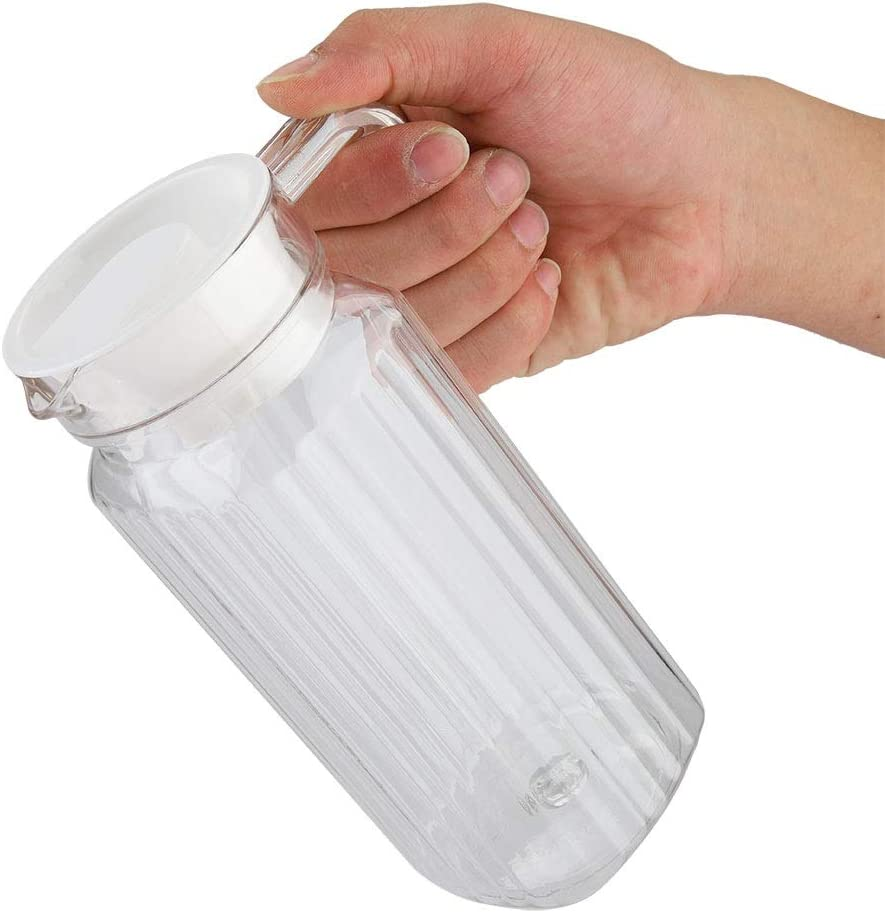 Glass Pitcher - Ribbed Glass Beverage Drink Pitcher Acrylic Transparent Juice Bottle Striped Water Ice Cold Juice Jug with Lid for Bar Home (Size : 800ml)
