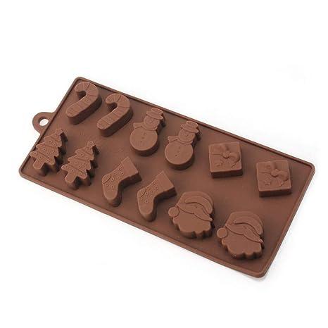 6 Formas de Navidad Juego de Moldes de Chocolate Tema Moldes de Silicona Herramientas de Hornear