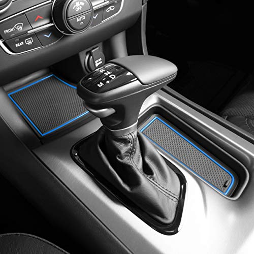 Custom Fit Cup, Door, and Console Liner Accessories for 2011-2020 Dodge Charger (Blue Trim)